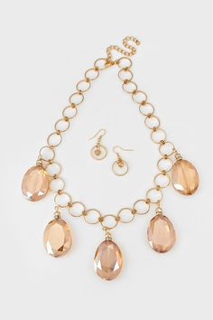 Crystal Ellan Necklace in Champagne | Women's Clothes, Casual Dresses, Fashion Earrings & Accessories | Emma Stine Limited