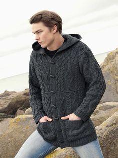 Aran Crafts Mens Aran Cable Knit Sweater with Hood Duffle Coat Jacket Coat Sweater