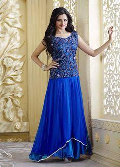 #Readymade #Royal #Blue #Pure #Satin #Anarkali #Style #Gown #nikvik  #usa #designer #australia #canada #freeshipping #kamiz