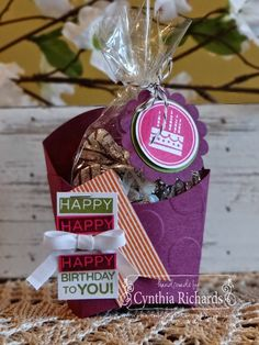 Stampin' Up! Amazing Birthday, French fry big shot die box, treat holder, ssink, ink a doodle creations