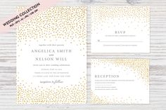 Gold Confetti Wedding Invitation Set by Pixejoo.  Sophisticated and chic wedding invitation with confetti dots and matching items.