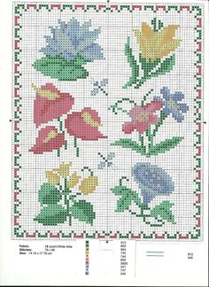 Cross Stitch spring flowers -  large grid freebie, thanks so xox