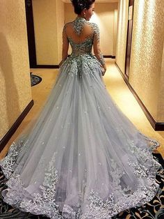 Ball GowN Prom Dresse, Princess Prom Dresses, Long Sleeves Prom Dress, Tulle Evening Dress, Gray Eve on Luulla Grey Prom Dress, Gorgeous Prom Dresses, Prom Dresses Long With Sleeves, Backless Prom Dresses, Beautiful Gowns, Pretty Dresses, Dress Long, Prom Gowns Elegant, Bridesmaid Dresses