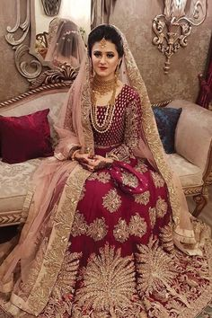 All Ethnic Customization with Hand Embroidery & beautiful Zardosi Art by Expert & Experienced Artist That reflect in Blouse , Lehenga & Sarees Designer creativity that will sunshine You & your Party Worldwide Delivery. Pakistani Bridal Makeup, Bridal Mehndi Dresses, Pakistani Wedding Outfits, Indian Bridal Outfits, Bridal Dress Design, Indian Bridal Wear, Pakistani Wedding Dresses, Pakistani Dress Design, Bridal Wedding Dresses