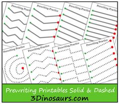 Not all Kids are ready for a small line when practicing tracing lines. These Prewriting Practice Solid & Dashed Printables are here to help with that! The Prewriting Practice Solid & Dashed Printables come with a start and stop to Preschool Writing, Free Preschool, Preschool Printables, Preschool Kindergarten, Preschool Learning, Preschool Activities, Printable Worksheets, Preschool Worksheets Free, Writing Worksheets