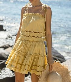 Fashion 2019 Women Embroidery Lace Sexy Two-Piece Set Elegant Beach Sets Casual Party Outfits Vestidos Casual Party, Casual Beach Outfit, Beach Party Outfits, Boho Outfits, Pretty Outfits, Ootd, Women's Summer Fashion, Elegant, Clothes For Women
