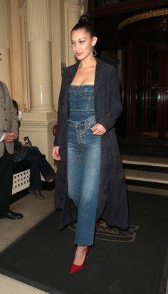 bella hadid chain belt jeans tuxedo