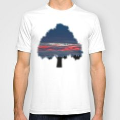 Twilight of the gods T-shirt by Pirmin Nohr - $22.00  Sunrise of today, a Grey and rainy morning, some clouds very illuminated by sun which wasn't visible (maybe behind the mountain). This pic is like it came out of the box.    Nature, weather, sky, dark, dawn, landscape, Silhouette, red