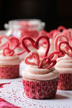 Cherry Buttermilk Cupcakes with Creamy Cherry Frosting and Chocolate Hearts