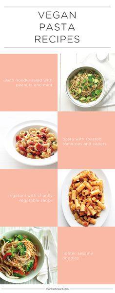 Vegan Pasta Recipes   Martha Stewart Living - Yes, you can have pasta without Parmesan and without sausage! Let the vegetables shine, use plenty of nuts and herbs, and give the beans their due. We've collected our best and brightest recipes using all kinds of pasta.