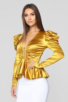 Check On It Long Sleeve Top - Mustard – Fashion Nova Venus Clothing, Mustard Fashion, Pencil Skirt Black, Pencil Skirts, Satin Bluse, Urban Fashion, Steampunk Fashion, Gothic Fashion, Women's Fashion