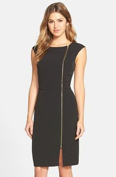 Love the side zipper detail. Not sure how dress would look around stomach area, where the faux belt cuts in. >> Ellen+Tracy+Zip+Detail+Sheath+Dress+(Regular+&+Petite)+(Online+Only)+available+at+#Nordstrom