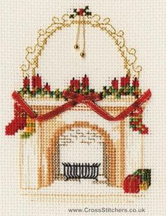 Fireplace Christmas Greetings Card Cross Stitch Kit from Derwentwater Designs