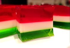 First time making 3 layer Jello..These colors would be great for X-Mas or Cinco de Mayo!!