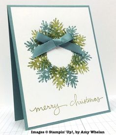 Stampin' Up! ... handmade Christmas card by Amy Whelan ... wreath stamped with pinecone in alternating olive and gray blue ... luv it!!