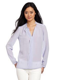rebecca taylor ruffle blouse   sky