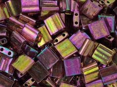 Miyuki 5mm Rose/Gold Rainbow Luster Tila Square Tube Bead 8g Pack