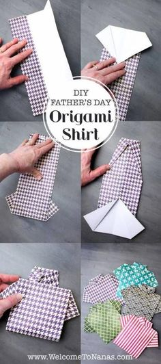 Two Ways to Make an Origami Shirt Father's Day Card – Scrap Booking DIY Paper Lanterns Paper lantern Diy Father's Day Origami, Art Origami, Origami Shirt, Origami Cards, Origami Easy, Origami Birthday Card, Oragami, Origami Tutorial, Simple Origami For Kids