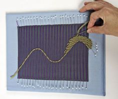 Create Intricate Fabric With Pin Weaving - Threads. Good way to use up scraps of yarn, fabric and ribbons.