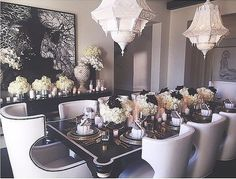 Kim's black-and-white-themed wedding to Kris Humphries might not have worked out, but the classic color scheme still permeates through all the Kardashian-Jenner households, from Kris's foyer to Khloé's dining room table.  Source: Instagram user khloekardashian