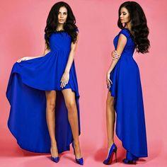 Chiffon Sleeveless Low High Long Irregular Prom Dress