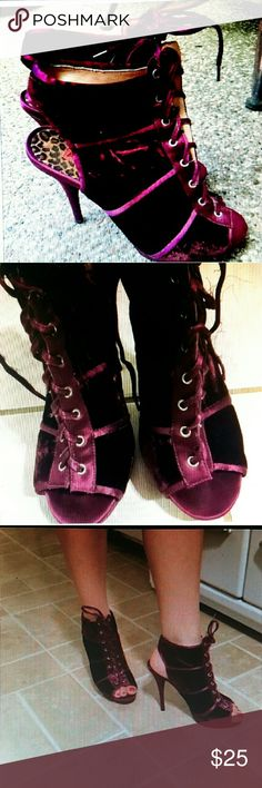 Betsey Johnson purple velvet ankle  boots Betsey Johnson velvet ankle booties. Size is woman's 9.5 but I wear a 10 and these fit me. Gorgeous purple velvet peep toe and heel cut out. In great shape. Love the color ! Betsey Johnson Shoes Ankle Boots & Booties