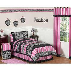 JoJo Designs Madison Collection Children's and Teen Bedding - 4-Piece Twin Set by JoJo Designs. $147.27. The Madison Collection 4-piece. Twin girls bedding collection by JoJo Designs will create a stunning boutique setting for your little fashionista. This designer girl bedding set uses a sensational collection of JoJo exclusive 100 percent Cotton fabrics. It has a black and white scroll print, a bold designer stripe, and mini black and white polka dot print. The gorgeous color p...