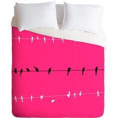 DENY Designs Shannon Clark Neon Nature Duvet Cover ($160) ❤ liked on Polyvore featuring home, bed & bath, bedding, duvet covers, deny designs bedding, bird bedding, neon bedding and deny designs