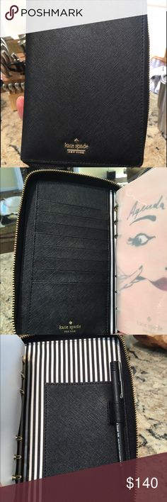 Kate Spade leather agenda Black leather with zipper closure and pockets inside. Needs new monthly/weekly calendar insert. Notes, to do, birthdays, restaurant, and address section never touched. Has ruler bookmark. kate spade Accessories
