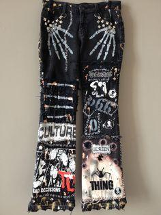 Black jeans by chad cherry from chad cherry clothing. chad c Skull Fashion, Punk Fashion, Fashion Pants, Diy Fashion, Custom Clothes, Diy Clothes, Punk Clothes, Punk Jeans, Men's Jeans