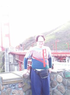 This guy makes sweaters of places and then takes pictures of himself wearing the sweaters at those places. - Imgur