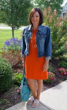 casual-orange-dress-with-denim-jacket