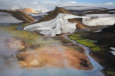 Surréalisme Naturel by Alexandre Deschaumes on 500px - Storihver area, Iceland Hot blue pool and river, snow covered with ashes, mud and green moss