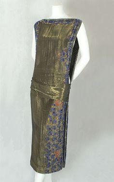 Beaded bronze lamé overdress, c.1923