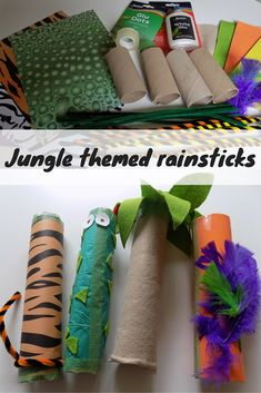 Jungle themed rainsticks - a simple and easy jungle themed craft perfect for toddlers and preschoolers. A wonderful music craft This time the theme for our project was Jungle so we went for Jungle themed rainsticks - what do you think? Jungle Theme Crafts, Jungle Theme Activities, Safari Crafts, Preschool Jungle, Jungle Theme Classroom, Safari Theme, Jungle Safari, Jungle Art Projects, Jungle Theme Decorations