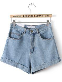 High Waist Vintage Denim Shorts