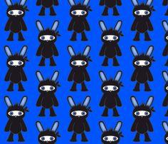Blue Ninja Bunny Pattern fabric by hippygiftshop on Spoonflower - custom fabric