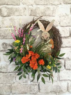 Easter Bunny Wreath Spring Wreath Easter by AdorabellaWreaths