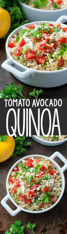 This Healthy Tomato Avocado Quinoa Salad with Feta is a super refreshing salad perfect for a hot summer day! We're obsessed with this healthy salad!