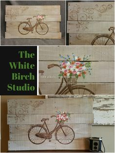 """Pallet Art, Farmhouse decor, Antique bike, spring flowers, flower basket, earthtones, Rustic shabby, Reclaimed pallet wood  This is the main design for the Spring FARMHOUSE Collection that was special ordered in tans and browns. This earth-toned piece would be a great, personal touch to your Spring and Summer decor in your home or at your cottage.  25"""" x 16"""""""
