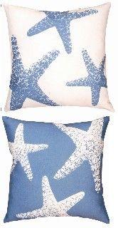 Indoor Outdoor Beach Decor Pillow - Nautical Starfish  - Bluebarnacles.com $28.