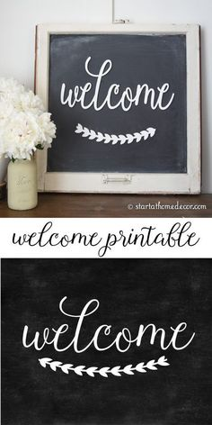 DIY Chalkboard Welcome with Free Printable Free welcome chalkboard printable from start at home decor Chalk Writing, Chalkboard Writing, Chalkboard Lettering, Chalkboard Designs, Chalkboard Paint, Hand Lettering, Chalkboard Printable, Chalkboard Ideas, Kitchen Chalkboard Quotes