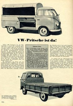 German VW type 2 single cab ad