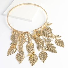 Leaf Collar Necklace. Need a unique statement piece to turn heads? Then this Gold Leaf Collar is the necklace for you.