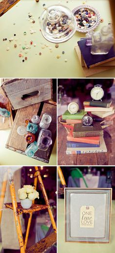 Books and clocks - a springboard for comments on travel, happy times, books read - good conversation starters on a table. Plus they look, well, pretty!