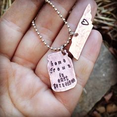 """Unique hand stamped """"home grown In East Tennessee"""" mason ball jar necklace with Tennessee tag accent on Etsy, $35.00"""
