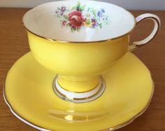 Yellow Paragon Tea Cup and Saucer, Floral Bone China, Flower Bouquets, Corset Shaped Teacup and Saucer