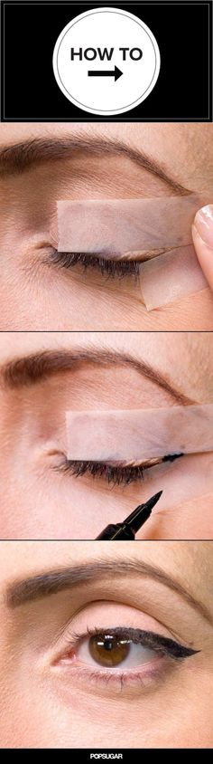 Mind-Blowingly Easy Eyeliner Hack Is the Best Trick Ever How many times have you ruined your winged eyeliner?How many times have you ruined your winged eyeliner? Eyeliner Hacks, Eyeliner Styles, Gel Eyeliner, Eyeliner Application, Eyeliner Ideas, Black Eyeliner, Simple Eyeliner, Perfect Eyeliner, How To Apply Eyeliner