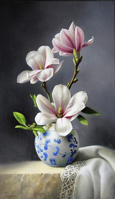 Flowers Discover Magnolia by Pieter Wagemans Magnolias Painting - Magnolia by Pieter Wagemans Oil Painting Flowers, Watercolor Flowers, Watercolor Art, Paintings Of Flowers, Painting Trees, Painting Abstract, Flower Vases, Flower Art, Plant Drawing