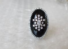 RARE New Art Deco HILARY JOY Black Onyx CZ Sterling Silver Elongated Ring 6  #Designer #SolitairewithAccents